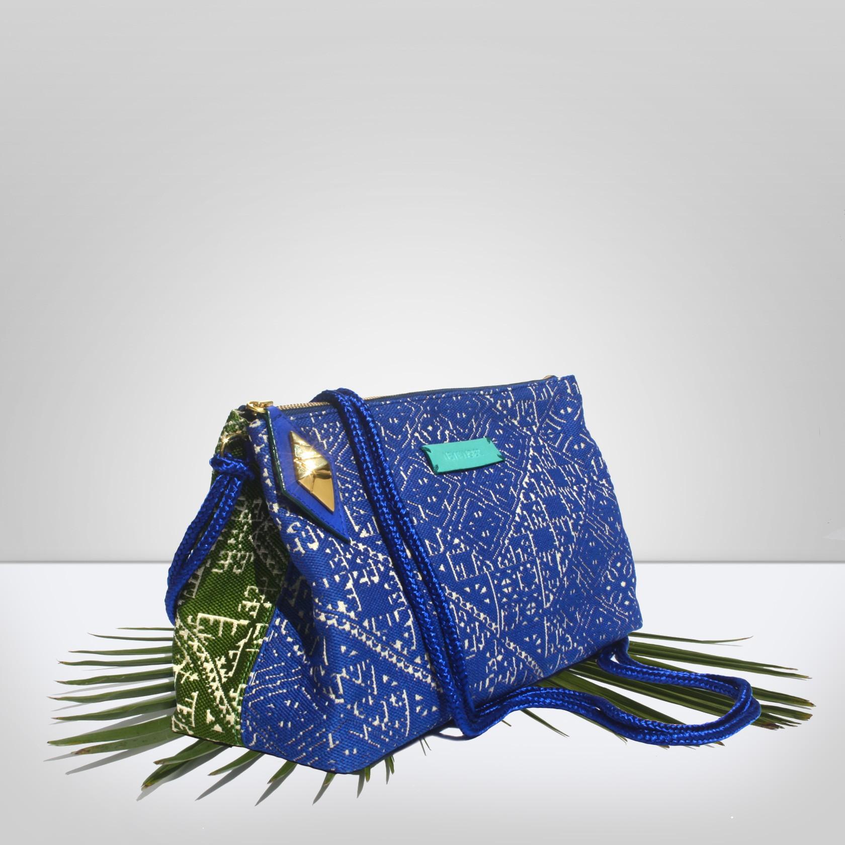 e83a58c037 bahiaGreen   Blue. Bi-colour cross-body bag.